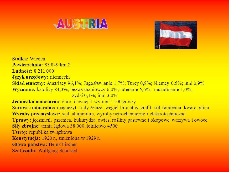Stolica: Wiedeń Powierzchnia: 83 849 km 2 Ludność: 8 211 000 Język urzędowy: niemiecki Skład etniczny: Austriacy 96,1%; Jugosławianie 1,7%; Turcy 0,8%