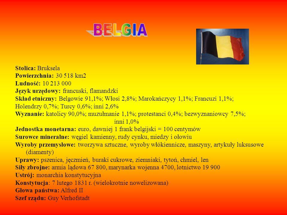 Stolica: Sofia Powierzchnia: 110 910 m2 Ludność: 7 800 000 Język urzędowy: bułgarski Skład etniczny: Bułgarzy: 83,9% Turcy: 9,4% Wyznanie: prawosławni: prawosławni: 82,6%, muzułmanie: 12,2%, katolicy: 0,6%, protestanci:0,5% Jednostka monetarna: lew Surowce mineralne: ruda żelaza, złoża miedzi, węgiel kamienny, ropa naftowa, gaz ziemny, Wyroby przemysłowe: stal, miedź, cynk, ołów, a także maszyny i urządzenia, chemikalia wyroby przemysłu spożywczego, Uprawy: zboża (pszenica, kukurydza), rośliny przemysłowe, Siły zbrojne: 45 000 Ustrój: republika Konstytucja: 12 lipca 1991r.