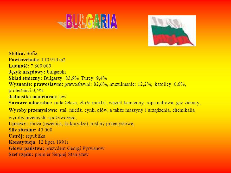 Stolica: Sofia Powierzchnia: 110 910 m2 Ludność: 7 800 000 Język urzędowy: bułgarski Skład etniczny: Bułgarzy: 83,9% Turcy: 9,4% Wyznanie: prawosławni