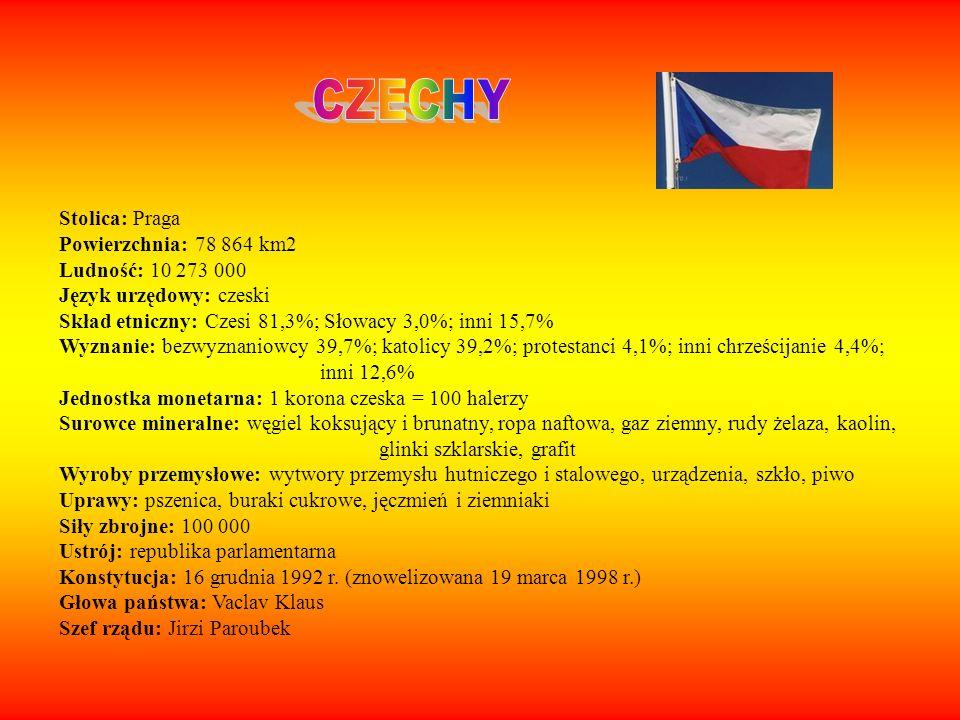 Stolica: Praga Powierzchnia: 78 864 km2 Ludność: 10 273 000 Język urzędowy: czeski Skład etniczny: Czesi 81,3%; Słowacy 3,0%; inni 15,7% Wyznanie: bez
