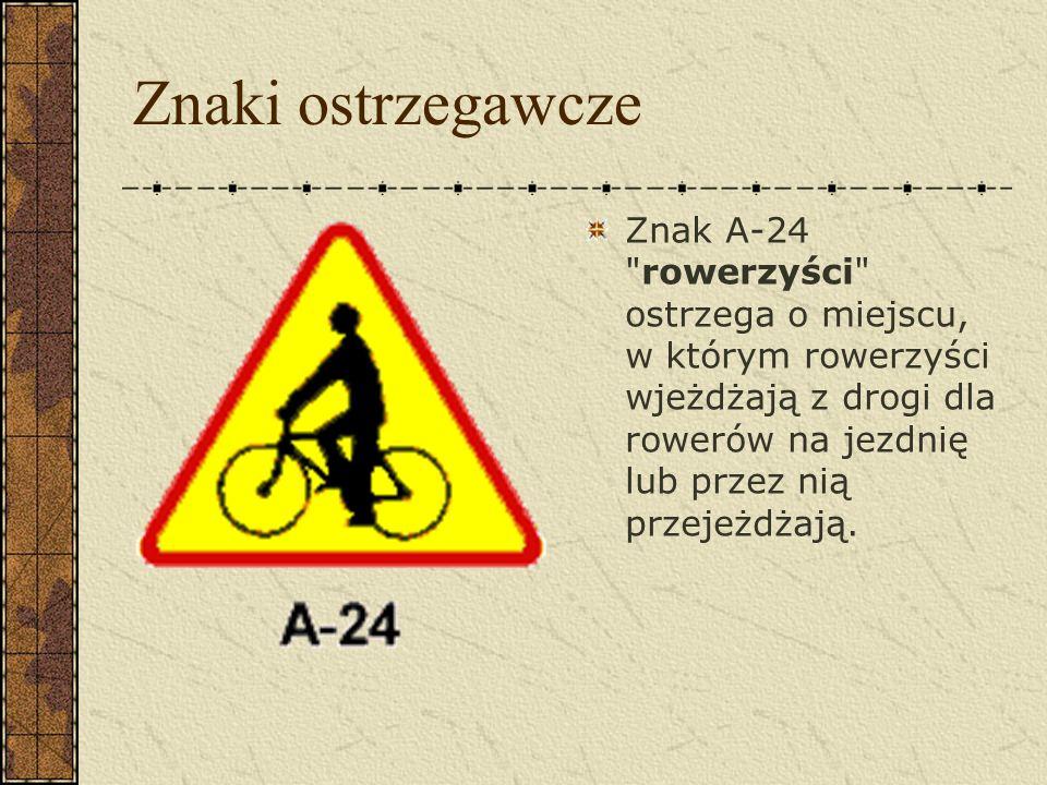 Znaki dotyczące rowerzystów Znaki ostrzegawcze Znaki zakazu Znaki nakazu Znaki informacyjne Sygnalizacje świetlne dotyczące rowerzystów