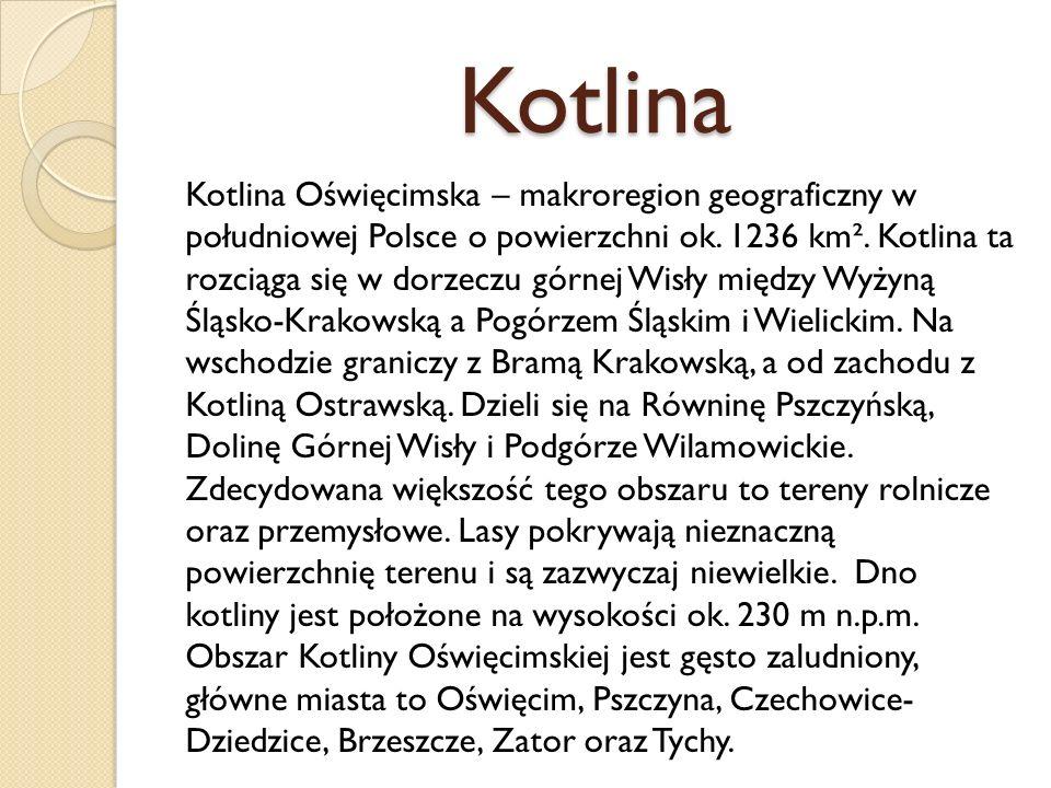 Kotlina Kotlina Oświęcimska – makroregion geograficzny w południowej Polsce o powierzchni ok. 1236 km². Kotlina ta rozciąga się w dorzeczu górnej Wisł