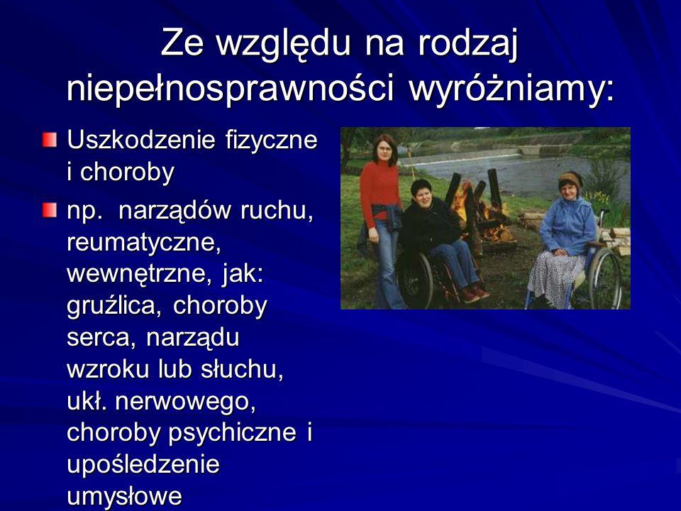 Ze względu na rodzaj niepełnosprawności wyróżniamy: Uszkodzenie fizyczne i choroby np. narządów ruchu, reumatyczne, wewnętrzne, jak: gruźlica, choroby