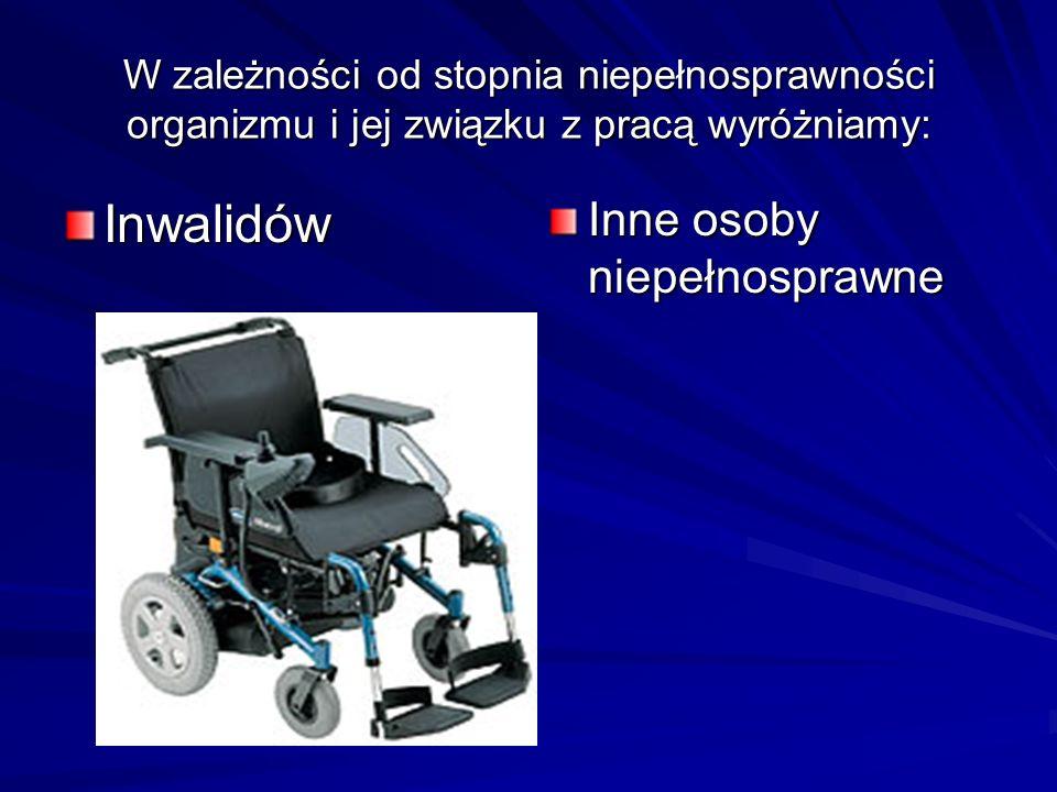 W zależności od stopnia niepełnosprawności organizmu i jej związku z pracą wyróżniamy: Inwalidów Inne osoby niepełnosprawne