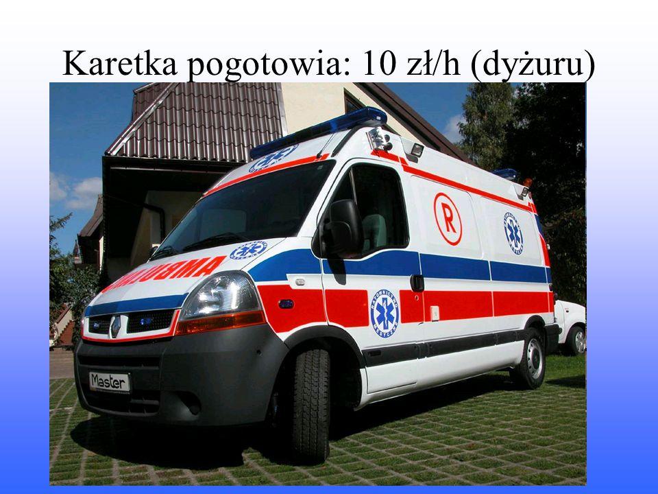 Karetka pogotowia: 10 zł/h (dyżuru)
