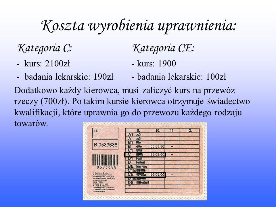 Koszta wyrobienia uprawnienia: Kategoria C: - kurs: 2100zł - badania lekarskie: 190zł Kategoria CE: - kurs: 1900 - badania lekarskie: 100zł Dodatkowo każdy kierowca, musi zaliczyć kurs na przewóz rzeczy (700zł).
