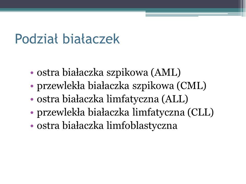 Podział białaczek ostra białaczka szpikowa (AML) przewlekła białaczka szpikowa (CML) ostra białaczka limfatyczna (ALL) przewlekła białaczka limfatyczn