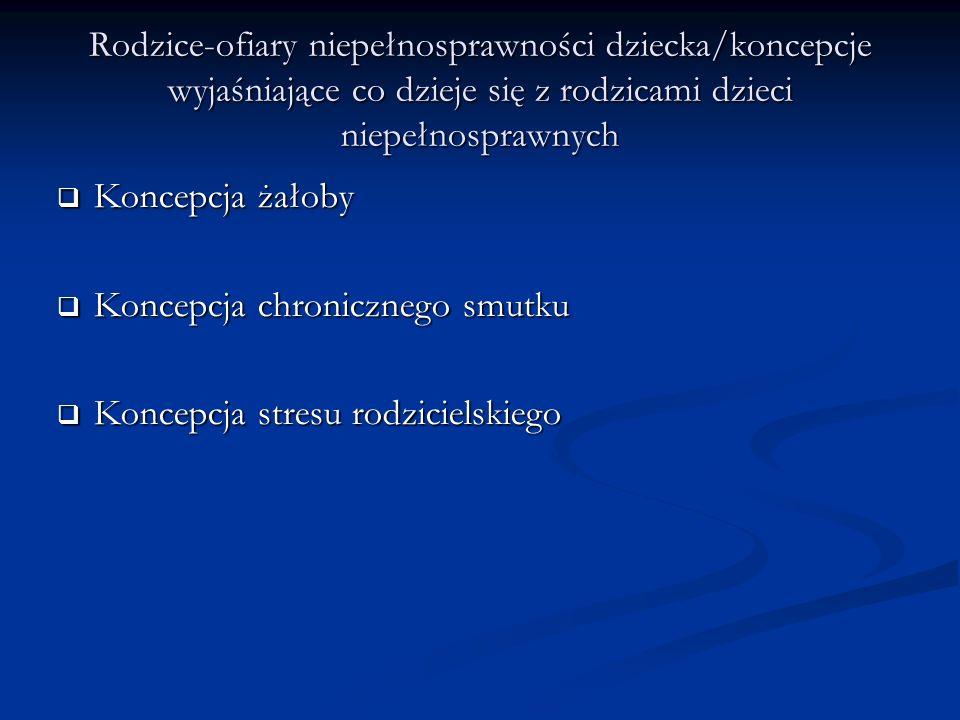 Rodzice-ofiary niepełnosprawności dziecka/koncepcje wyjaśniające co dzieje się z rodzicami dzieci niepełnosprawnych Koncepcja żałoby Koncepcja żałoby Koncepcja chronicznego smutku Koncepcja chronicznego smutku Koncepcja stresu rodzicielskiego Koncepcja stresu rodzicielskiego