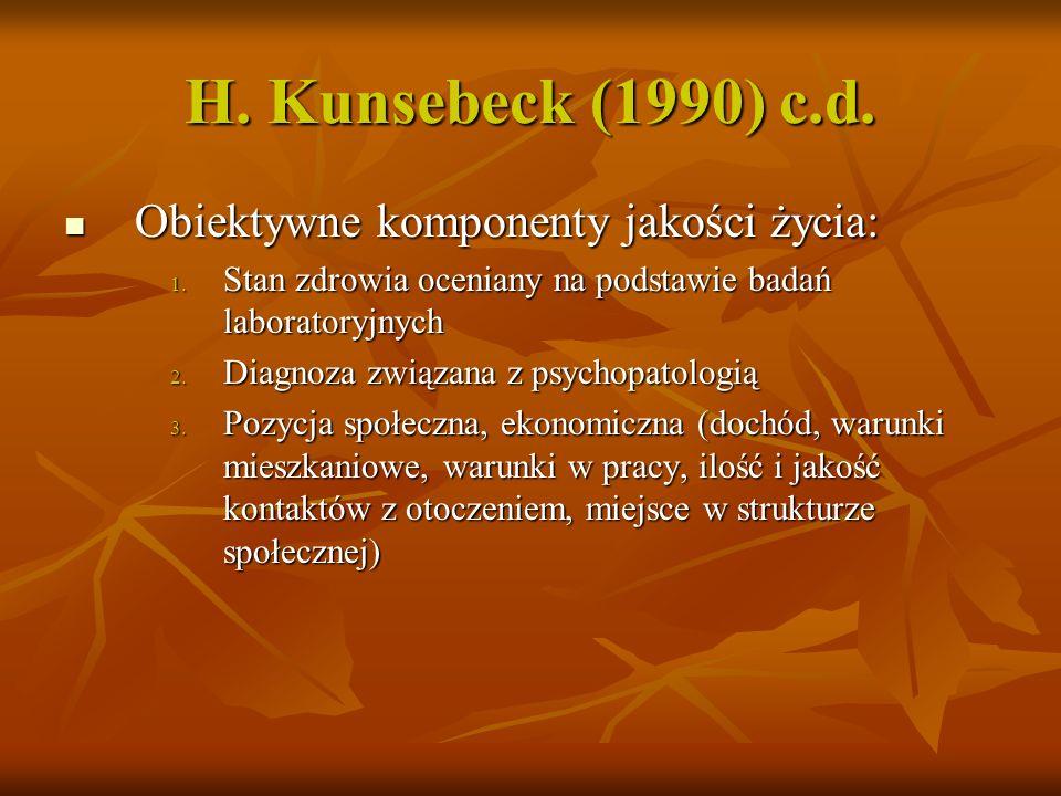 H. Kunsebeck (1990) Subiektywne komponenty jakości życia: Subiektywne komponenty jakości życia: 1. Fizyczne (dolegliwości, ból, fizyczne samopoczucie)