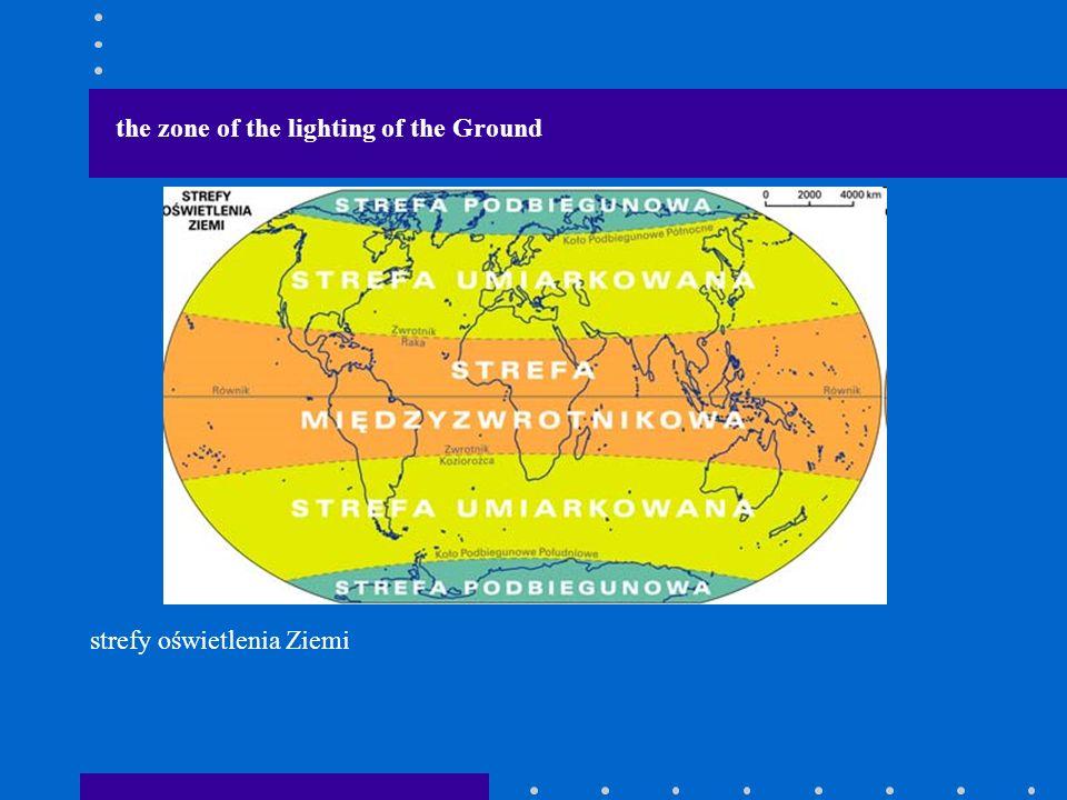 the zone of the lighting of the Ground strefy oświetlenia Ziemi