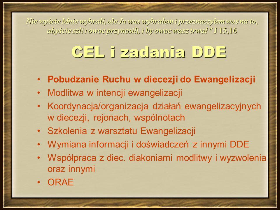 CEL i zadania DDE Pobudzanie Ruchu w diecezji do Ewangelizacji Modlitwa w intencji ewangelizacji Koordynacja/organizacja działań ewangelizacyjnych w diecezji, rejonach, wspólnotach Szkolenia z warsztatu Ewangelizacji Wymiana informacji i doświadczeń z innymi DDE Współpraca z diec.