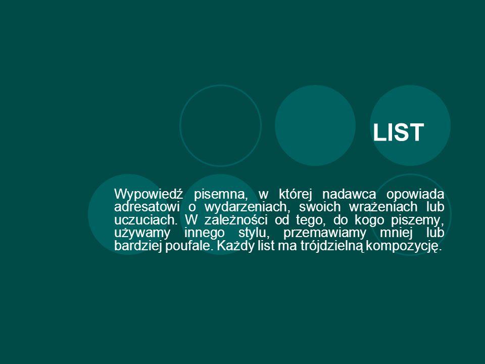 LIST Wypowiedź pisemna, w której nadawca opowiada adresatowi o wydarzeniach, swoich wrażeniach lub uczuciach.