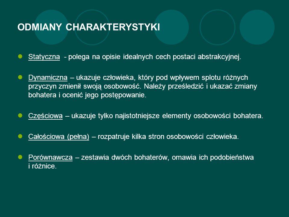 ODMIANY CHARAKTERYSTYKI Statyczna - polega na opisie idealnych cech postaci abstrakcyjnej.