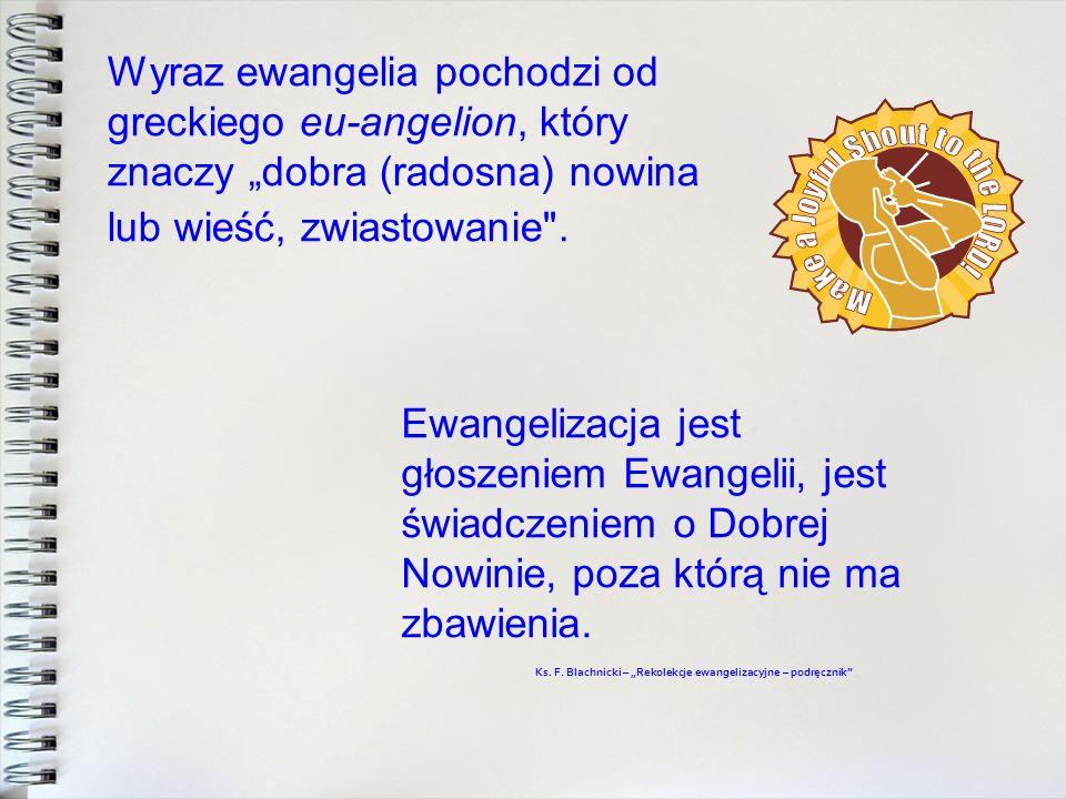 Wyraz ewangelia pochodzi od greckiego eu-angelion, który znaczy dobra (radosna) nowina lub wieść, zwiastowanie