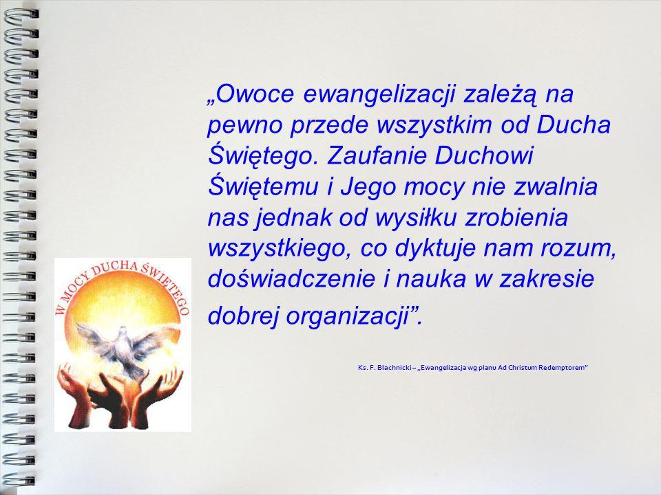 Owoce ewangelizacji zależą na pewno przede wszystkim od Ducha Świętego. Zaufanie Duchowi Świętemu i Jego mocy nie zwalnia nas jednak od wysiłku zrobie