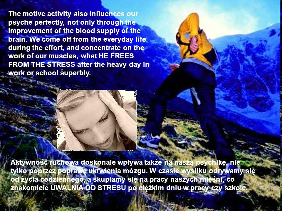Aktywność ruchowa doskonale wpływa także na naszą psychikę, nie tylko poprzez poprawę ukrwienia mózgu. W czasie wysiłku odrywamy się od życia codzienn