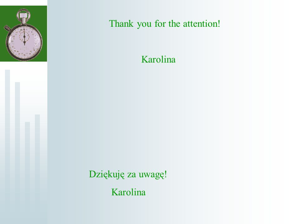 Dziękuję za uwagę! Karolina Thank you for the attention! Karolina