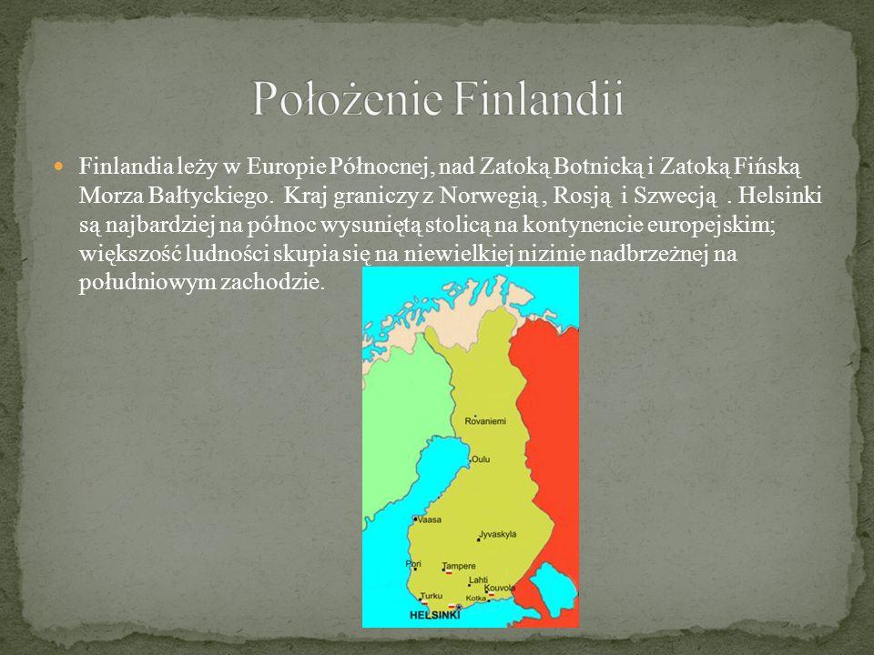 Finlandia leży w Europie Północnej, nad Zatoką Botnicką i Zatoką Fińską Morza Bałtyckiego.