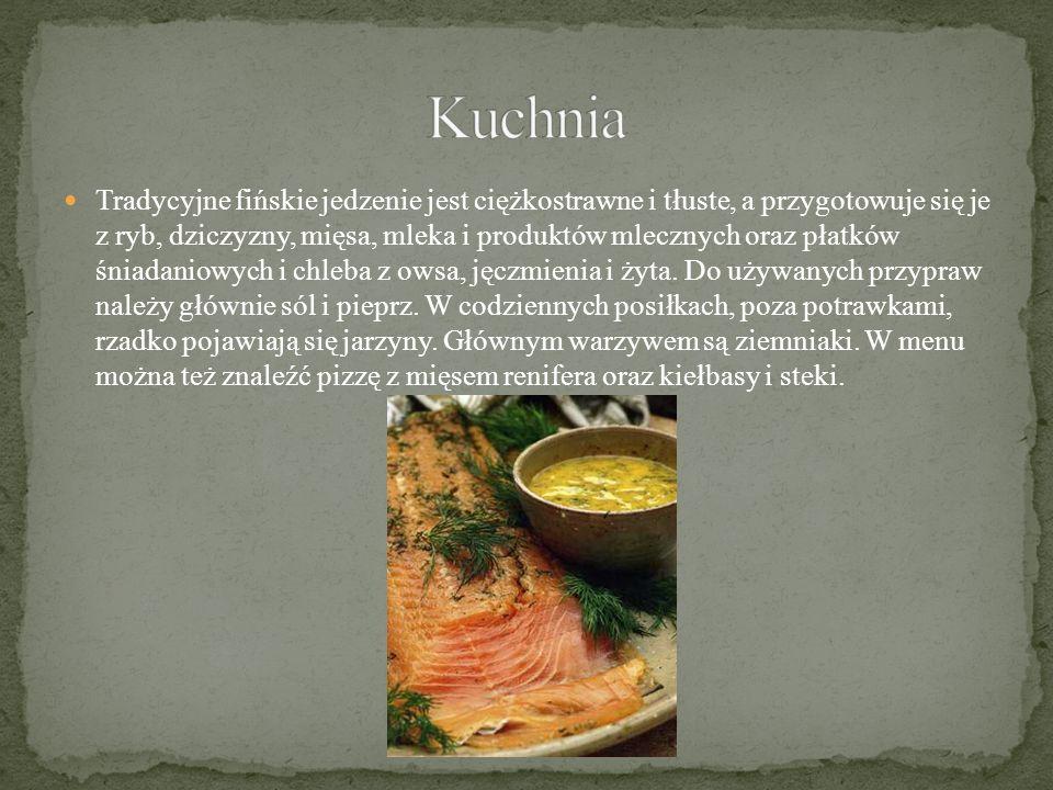 Tradycyjne fińskie jedzenie jest ciężkostrawne i tłuste, a przygotowuje się je z ryb, dziczyzny, mięsa, mleka i produktów mlecznych oraz płatków śniadaniowych i chleba z owsa, jęczmienia i żyta.