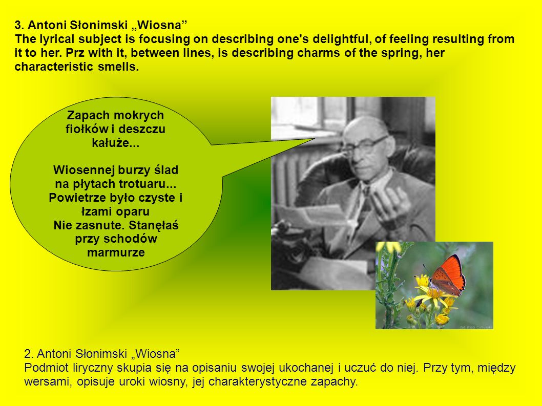 Examples of Polish narrative work in whom the motive for the spring is appearing (together with fragments).