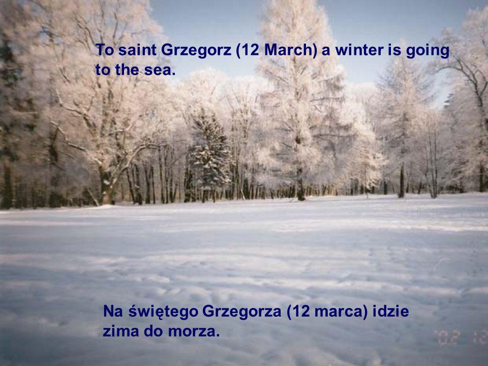 Na świętego Grzegorza (12 marca) idzie zima do morza. To saint Grzegorz (12 March) a winter is going to the sea.