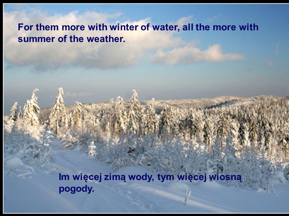 Im więcej zimą wody, tym więcej wiosną pogody. For them more with winter of water, all the more with summer of the weather.