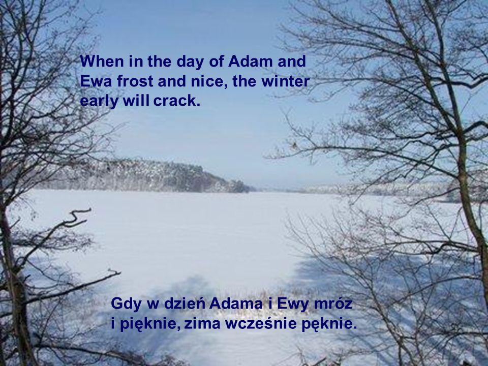 Gdy w dzień Adama i Ewy mróz i pięknie, zima wcześnie pęknie. When in the day of Adam and Ewa frost and nice, the winter early will crack.