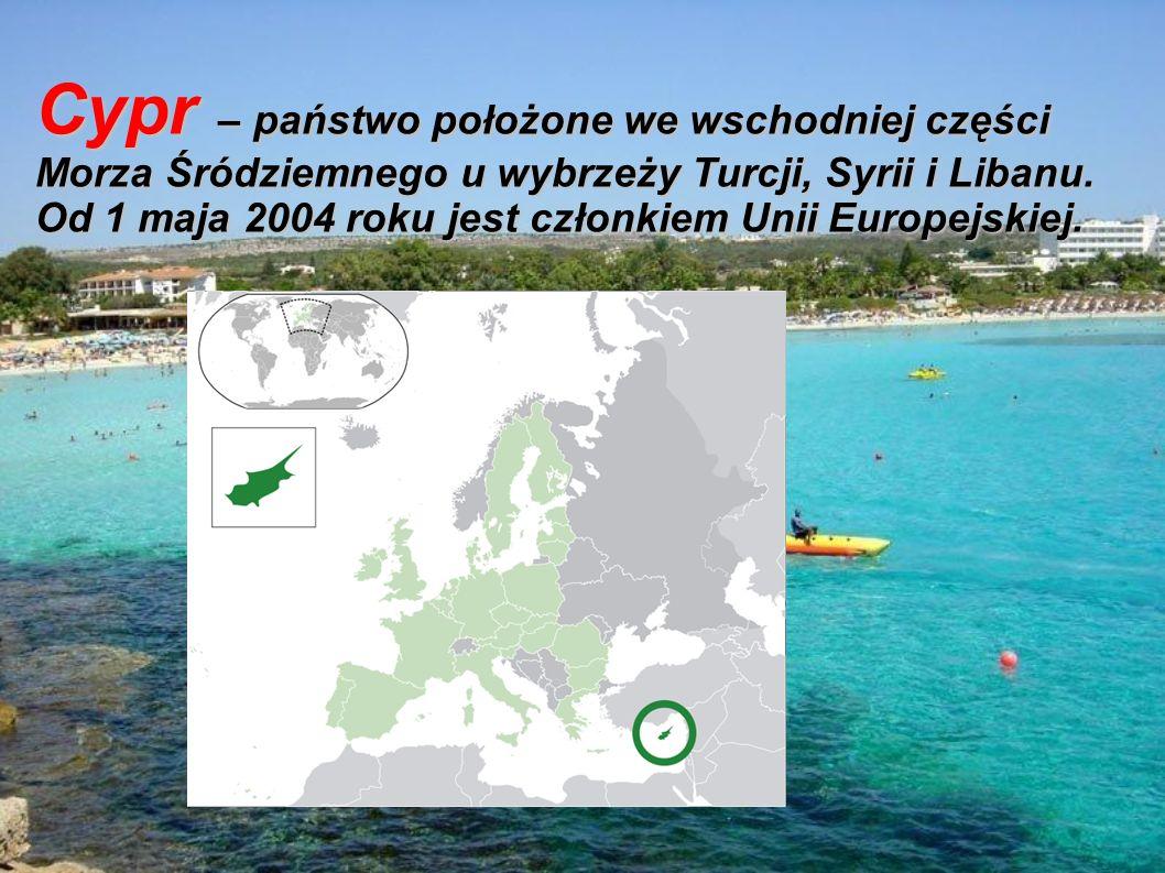 Cypr – państwo położone we wschodniej części Morza Śródziemnego u wybrzeży Turcji, Syrii i Libanu.