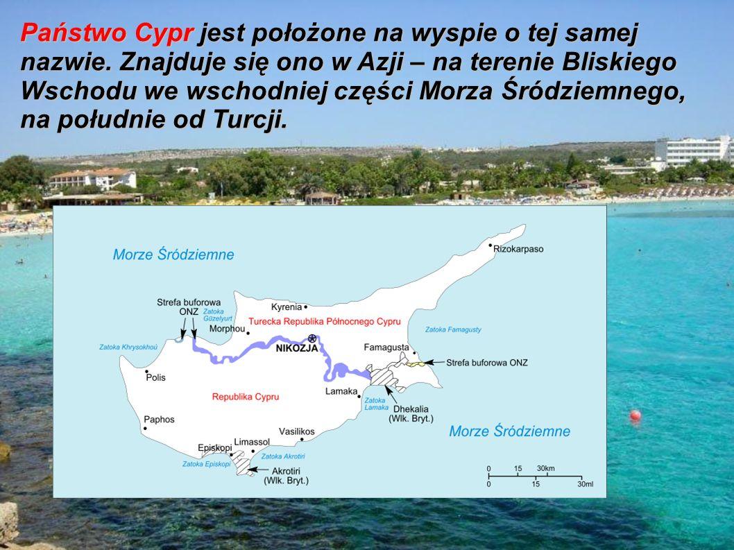 Państwo Cypr jest położone na wyspie o tej samej nazwie.
