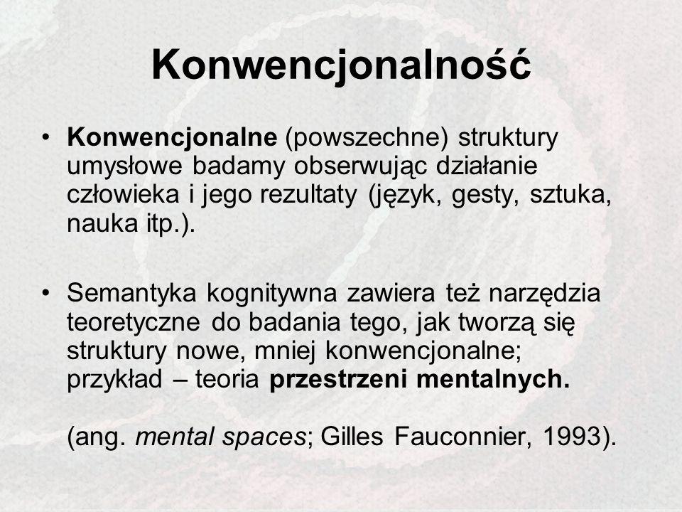 Konwencjonalność Konwencjonalne (powszechne) struktury umysłowe badamy obserwując działanie człowieka i jego rezultaty (język, gesty, sztuka, nauka it