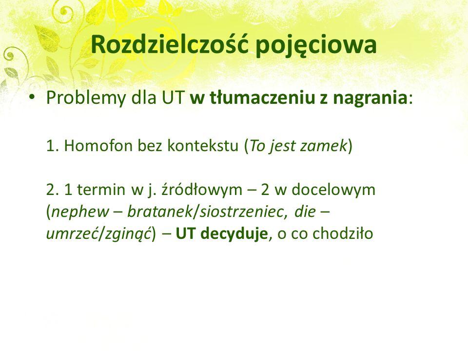 Rozdzielczość pojęciowa Problemy dla UT w tłumaczeniu z nagrania: 1. Homofon bez kontekstu (To jest zamek) 2. 1 termin w j. źródłowym – 2 w docelowym