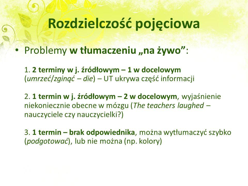 Rozdzielczość pojęciowa Problemy w tłumaczeniu na żywo: 1. 2 terminy w j. źródłowym – 1 w docelowym (umrzeć/zginąć – die) – UT ukrywa część informacji