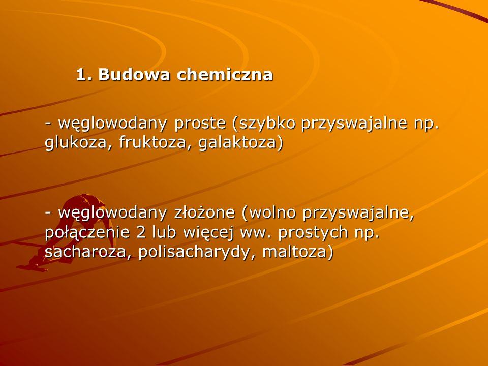 1. Budowa chemiczna - węglowodany proste (szybko przyswajalne np. glukoza, fruktoza, galaktoza) - węglowodany złożone (wolno przyswajalne, połączenie