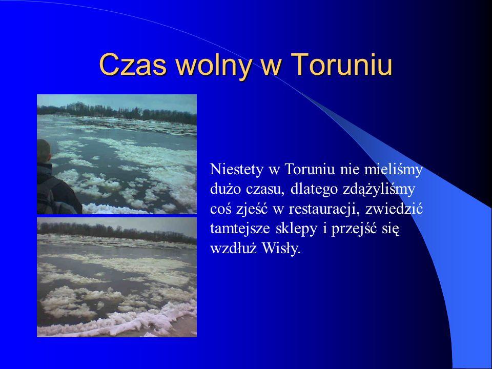 Czas wolny w Toruniu Niestety w Toruniu nie mieliśmy dużo czasu, dlatego zdążyliśmy coś zjeść w restauracji, zwiedzić tamtejsze sklepy i przejść się wzdłuż Wisły.