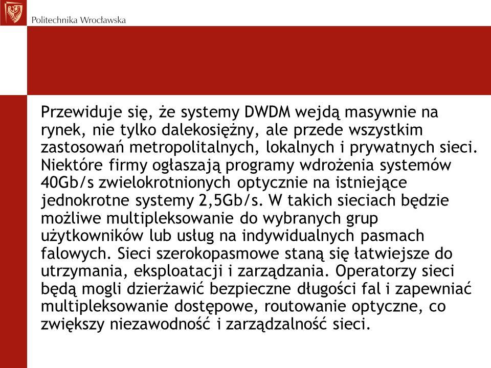 Przewiduje się, że systemy DWDM wejdą masywnie na rynek, nie tylko dalekosiężny, ale przede wszystkim zastosowań metropolitalnych, lokalnych i prywatn