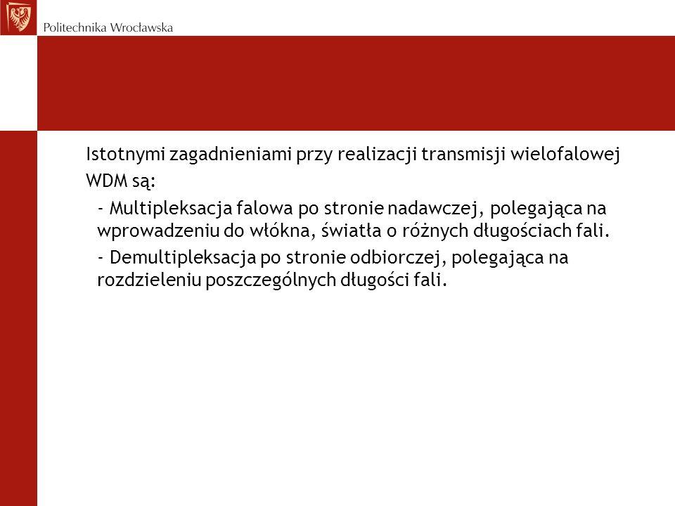 Istotnymi zagadnieniami przy realizacji transmisji wielofalowej WDM są: - Multipleksacja falowa po stronie nadawczej, polegająca na wprowadzeniu do wł
