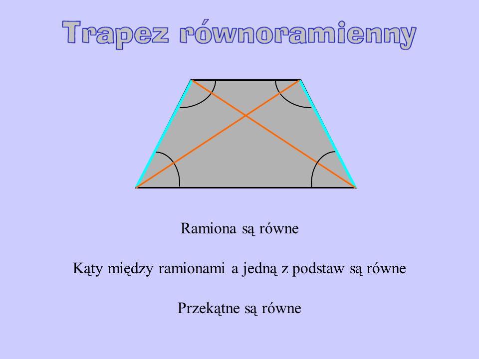 Ramiona są równe Kąty między ramionami a jedną z podstaw są równe Przekątne są równe