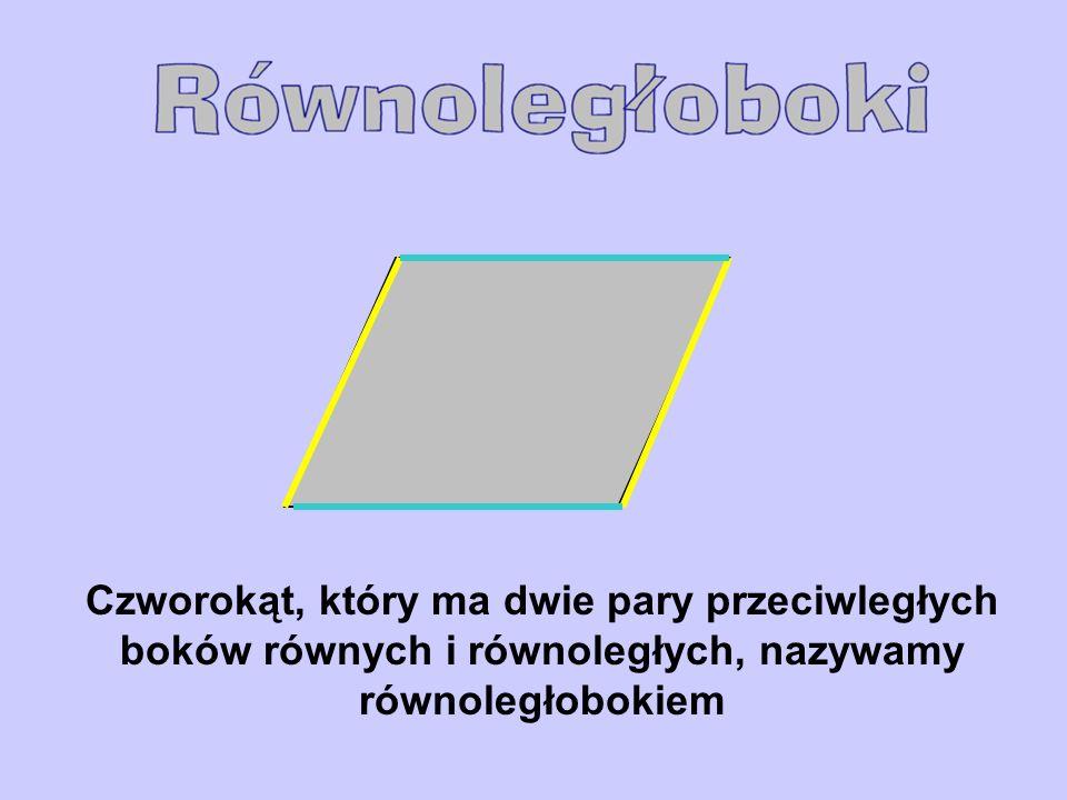 Czworokąt, który ma dwie pary przeciwległych boków równych i równoległych, nazywamy równoległobokiem