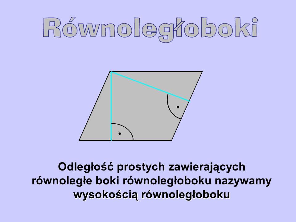 wysokością równoległoboku Odległość prostych zawierających równoległe boki równoległoboku nazywamy wysokością równoległoboku