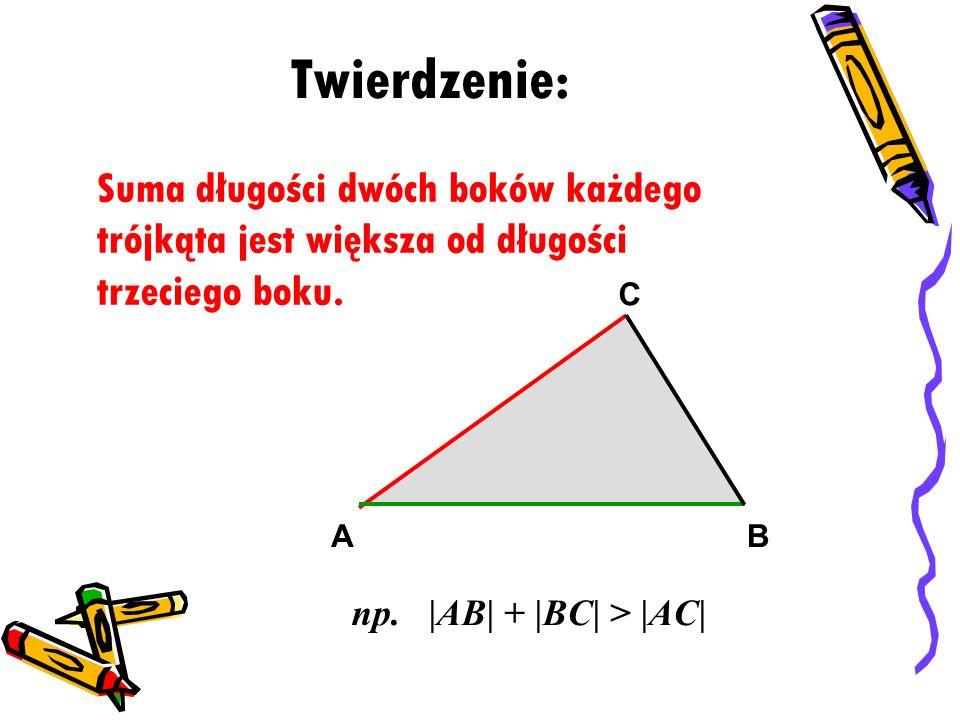 Twierdzenie: Suma długości dwóch boków każdego trójkąta jest większa od długości trzeciego boku. AB C np. |AB| + |BC| > |AC|