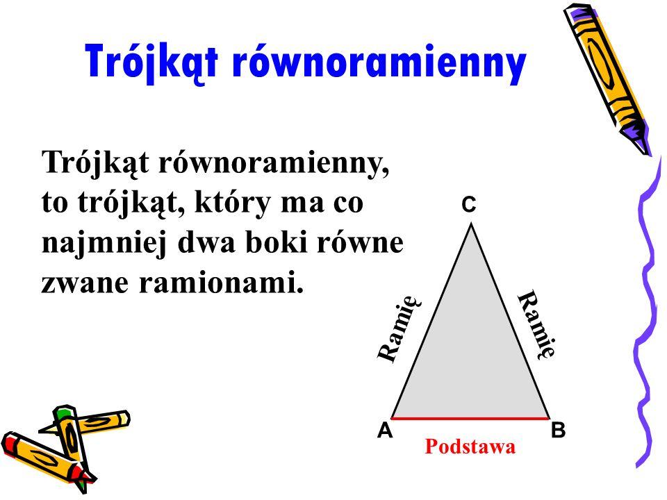 Trójkąt równoramienny Trójkąt równoramienny, to trójkąt, który ma co najmniej dwa boki równe zwane ramionami. Podstawa Ramię AB C