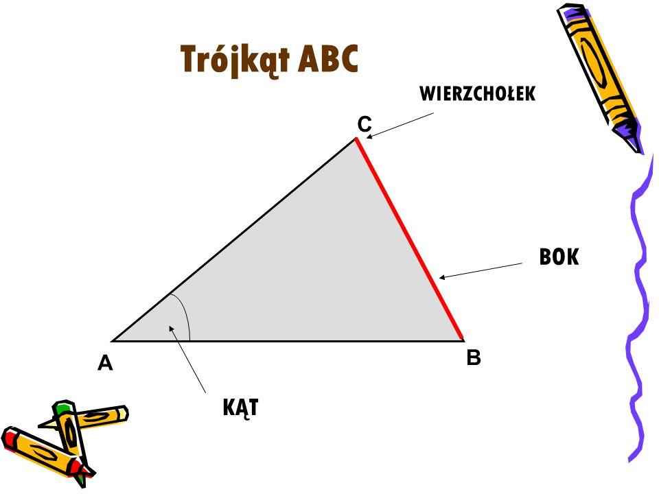 Trójkąt ABC WIERZCHOŁEK BOK A KĄT C B