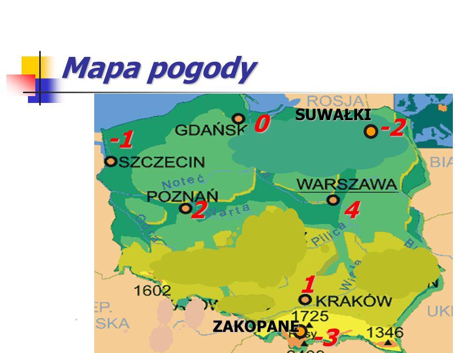 ZAKOPANE 1 -3 4 0 2 -2 SUWAŁKI Mapa pogody