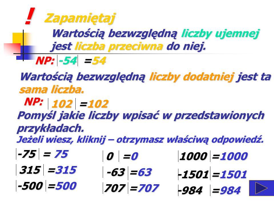 Wartość bezwzględna liczby całkowitej Zapamiętaj ! Wartość bezwzględna liczby, liczby, to odległość liczby od zera na osi liczbowej. ! ! ! ! ! ! ! ! !