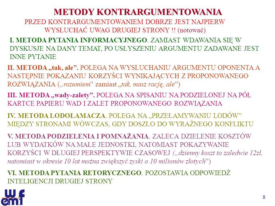 9 METODY KONTRARGUMENTOWANIA VII.METODA DOCHODZENIA KROKAMI.