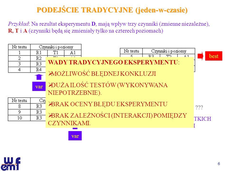 6 PODEJŚCIE TRADYCYJNE (jeden-w-czasie) Przykład: Na rezultat eksperymentu D, mają wpływ trzy czynniki (zmienne niezależne), R, T i A (czynniki będą s