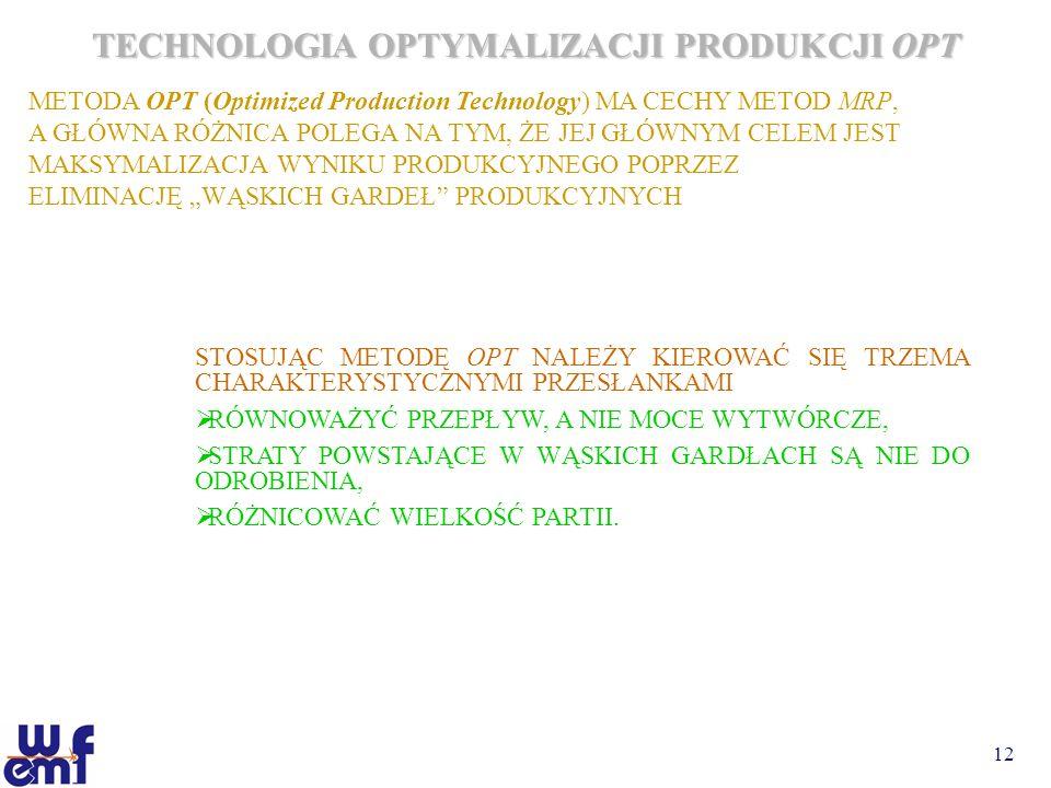 12 TECHNOLOGIA OPTYMALIZACJI PRODUKCJI OPT METODA OPT (Optimized Production Technology) MA CECHY METOD MRP, A GŁÓWNA RÓŻNICA POLEGA NA TYM, ŻE JEJ GŁÓ