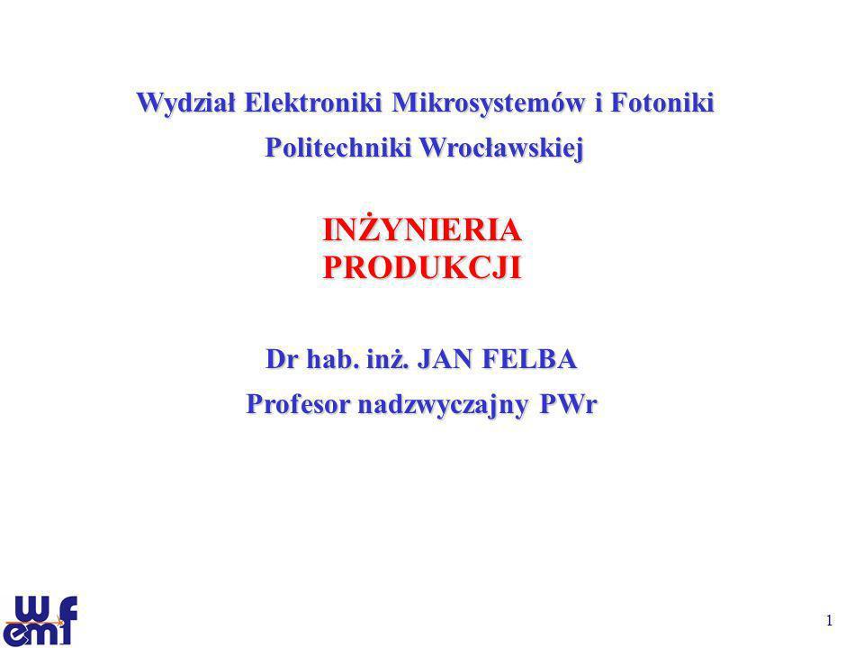 1 INŻYNIERIAPRODUKCJI Dr hab. inż. JAN FELBA Profesor nadzwyczajny PWr Wydział Elektroniki Mikrosystemów i Fotoniki Politechniki Wrocławskiej