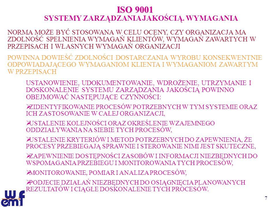 7 ISO 9001 SYSTEMY ZARZĄDZANIA JAKOŚCIĄ. WYMAGANIA NORMA MOŻE BYĆ STOSOWANA W CELU OCENY, CZY ORGANIZACJA MA ZDOLNOŚĆ SPEŁNIENIA WYMAGAŃ KLIENTÓW, WYM