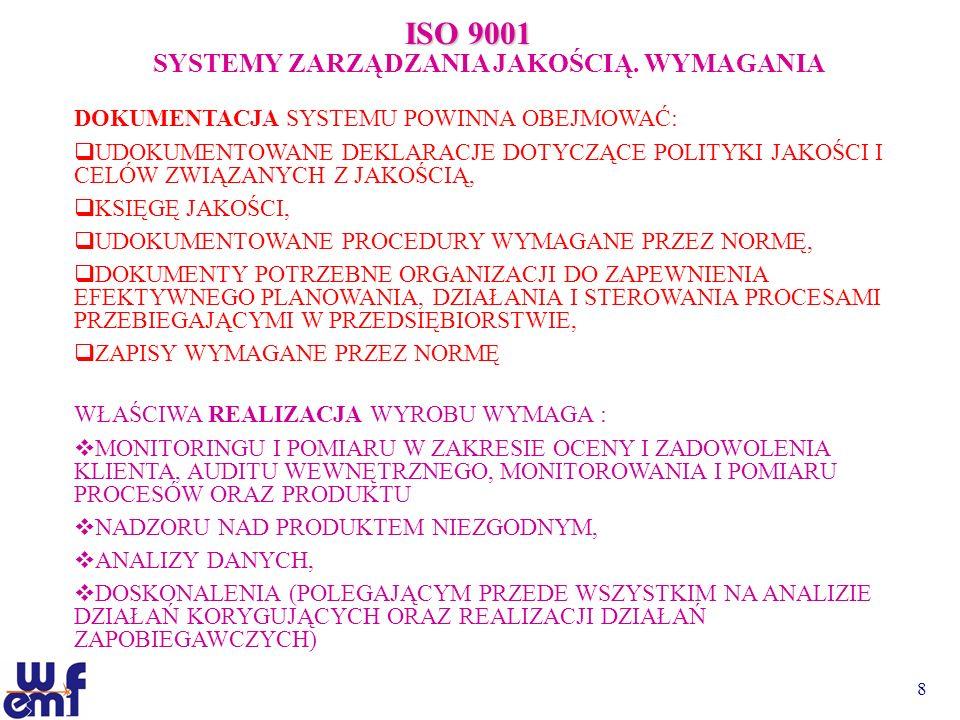 8 ISO 9001 SYSTEMY ZARZĄDZANIA JAKOŚCIĄ. WYMAGANIA DOKUMENTACJA SYSTEMU POWINNA OBEJMOWAĆ: UDOKUMENTOWANE DEKLARACJE DOTYCZĄCE POLITYKI JAKOŚCI I CELÓ